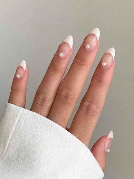 Classic French Manicure With Pearls