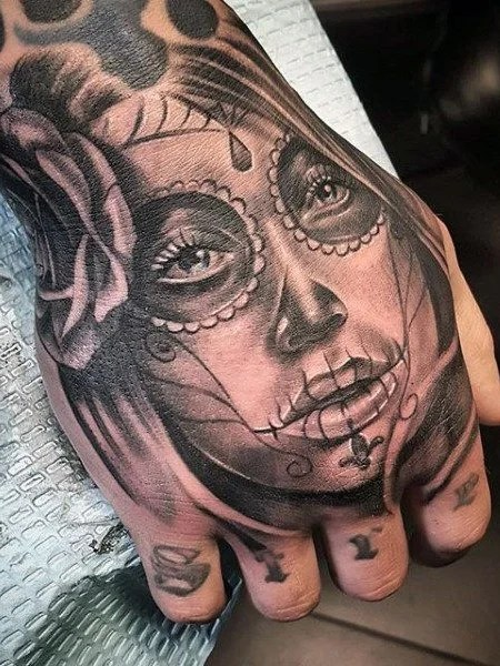 Day Of The Dead Skeleton Hand Tattoo