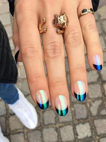 Holographic French Tip Nails