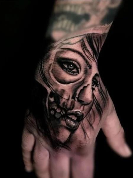 Skeleton Face Hand Tattoo