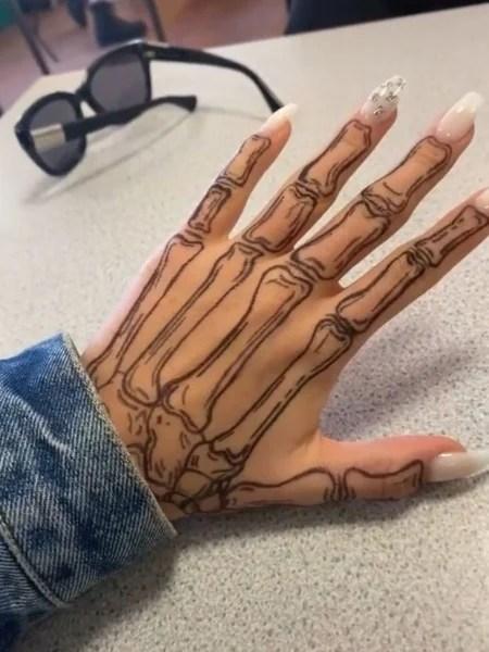 Skeleton Hand Tattoo Outline