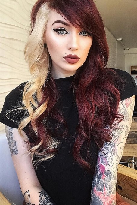 Two Tone Burgundy And Blonde Hair1 (1)