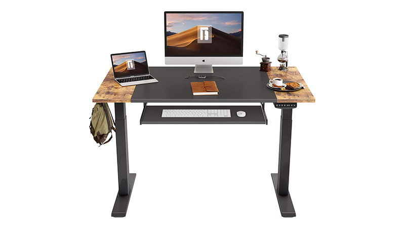 Fezibo Dual Motor Height Adjustable Electric Standing Desk With Keyboard Tray