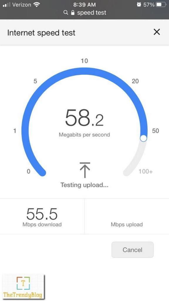 Motorola MH307 Mesh WiFI Speed - Near Garage