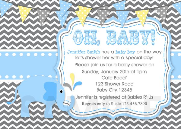 Elephant Chevron Baby Boy Shower Invitation