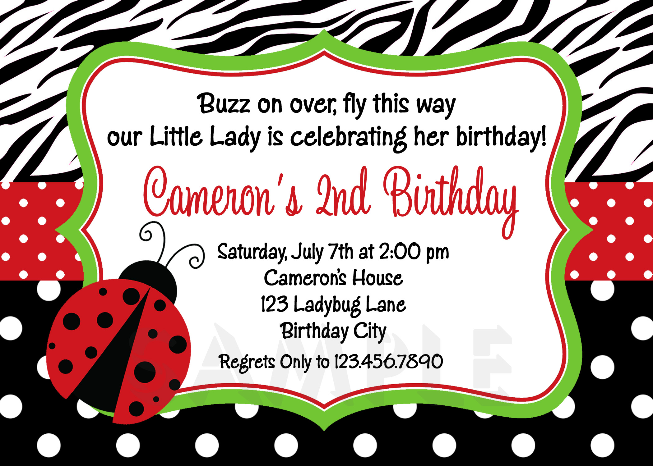 Printable Birthday Invitations Ladybug First Party Red