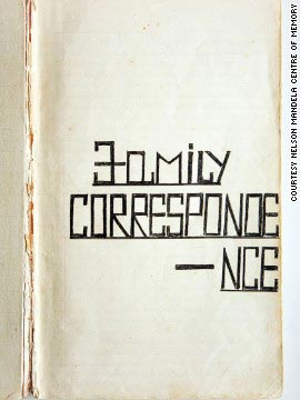 The cover of one of Mandela's prison journals, containing correspondence with his family.