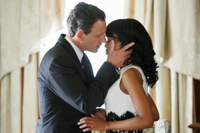That's President Fitzgerald Grant (Tony Goldwyn) and Olivia Pope (Kerry Washington) in a steamy scene in Scandal Season 2. Photo Credit: ABC Studios