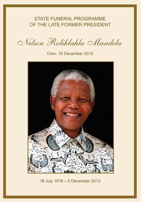Funeral Programme of Nelson Mandela The Trent