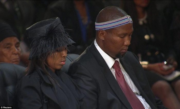 Traditional: Mandla Mandela right, grandson of former South African president Nelson Mandela, during his grandfather's funeral