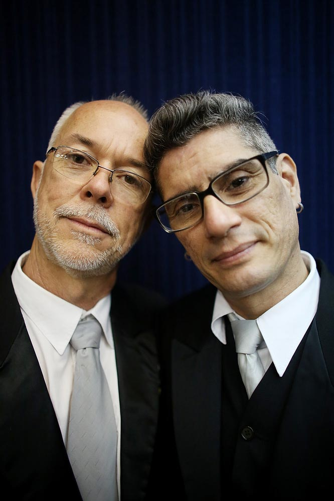 Couple Alex (L) and Jorge pose before marrying at what was billed as the world's largest communal gay wedding on December 8, 2013 in Rio de Janeiro, Brazil. 130 couples were married at the event which was held at the Court of Justice in downtown Rio. In May, Brazil became the third country in Latin America to effectively approve same-sex marriage via a court ruling, but a final law has yet to be passed. (Photo by Mario Tama/Getty Images)