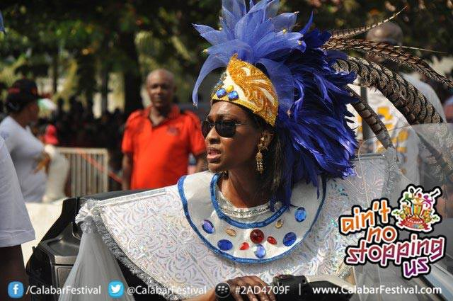 Onari Duke in her splendor at The Calabar Carnival (Photo Credit: Calabar Festival/Facebook)