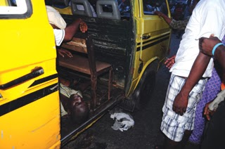The danfo driver after he was killed by a soldier at Obalende this morning (Photo Credit: PM News)