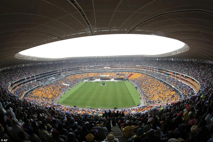 Fitting setting: A general view of the arena which was the location of Mr Mandela's first speech in Johannesburg after he was released from prison in 1990