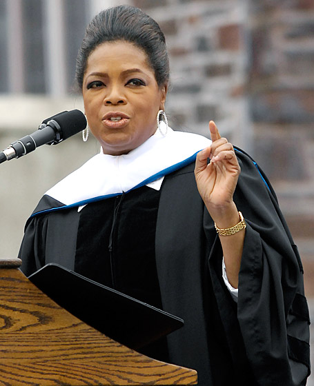 "May 2009 While delivering the commencement address at Duke University, Winfrey shared this life wisdom: ""If you can see the possibility of changing your life, of seeing what you can become and not just what you are, you will be a huge success."" (Photo Credit: Credit: Sara D. Davis/Getty)"