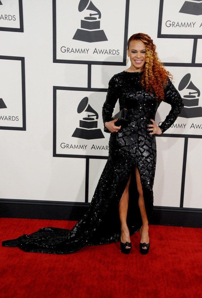 Best R&B Album nominee Faith Evans arrives at the 56th Annual GRAMMY Awards on Jan. 26 in Los Angeles (Photo Credit: Steve Granitz/WireImage.com)