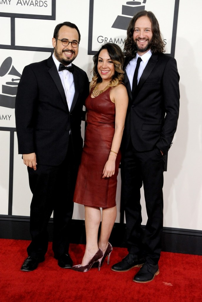 Best Music Video nominees Saul Levitz, Candice OvaKnine and Dori Oskowitz arrive at the 56th Annual GRAMMY Awards on Jan. 26 in Los Angeles (Photo Credit: Steve Granitz/WireImage.com)
