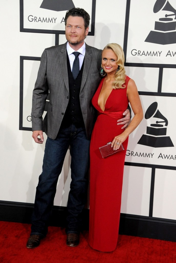 Nominees Blake Shelton and Miranda Lambert arrive at the 56th Annual GRAMMY Awards on Jan. 26 in Los Angeles (Photo Credit: Steve Granitz/WireImage.com)