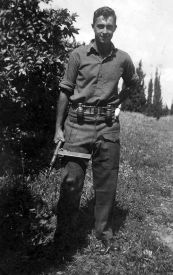 A 1948 picture of Ariel Sharon holding a Sten gun as a young commander in the Alexandroni Brigade of the fledging Israeli army during the War of Independence (Picture: Ministry of Defense via Getty Images)
