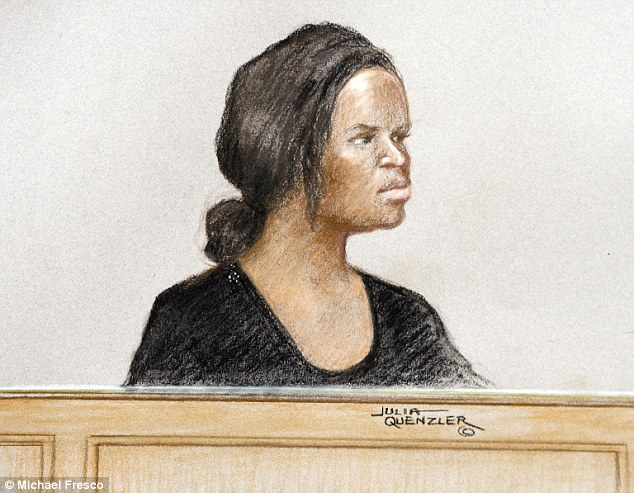 Mary Konye (pictured in court drawing), 21, stalked Naomi Oni from the lingerie store where she worked after her friend had likened her to monster from a horror film. (Photo Credit: Daily Mail UK)