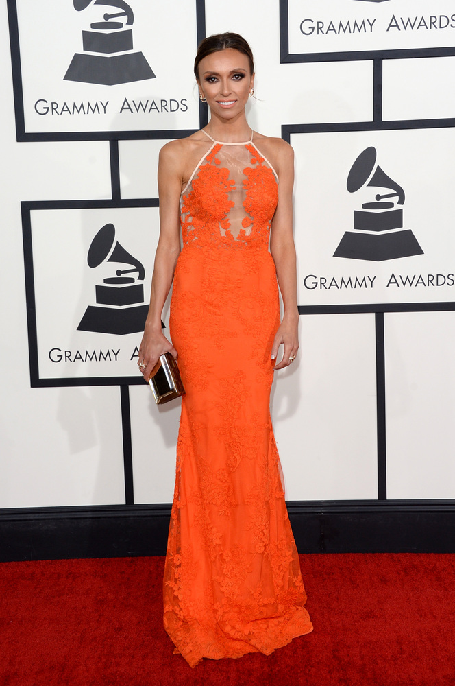 Giuliana Rancic in Alex Perry and Marina B.