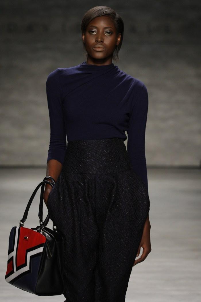 Bunmi Ademokoya in David Tlale at the Mercedes-Benz New York Fashion Week, Lincoln Centre, New York, New York, USA (Photo Credit : Eric Marillier / SDR Photo)