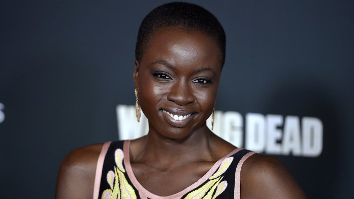 """Danai Gurira arrives at the premiere of AMC's """"The Walking Dead"""" 4th season at Universal CityWalk on October 3, 2013 in Universal City, California."""