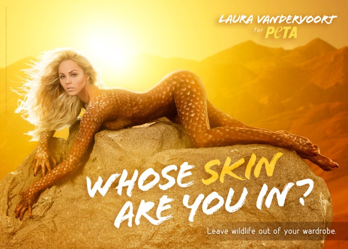 Laura Vandervoort's Sexy Bodypainted PETA Ad: Actor Laura Vandervoort bares all while painted to look like a sunbathing lizard in a hot PETA ad that encourages others to leave wildlife out of their wardrobes.