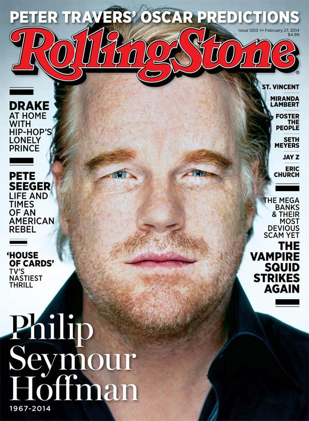 The late Philip Seymour Hoffman on the cover of a Rolling Stone march issue. The magazine originally planned a Drake cover, according to the rapper. (Martin Schoeller/AUGUST)