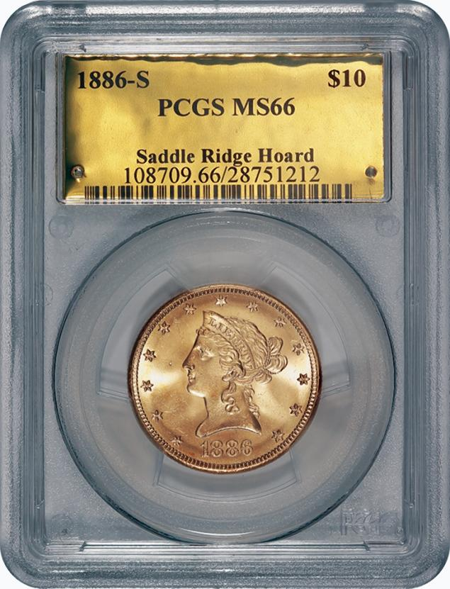 """This is one of the 1800s-era U.S. gold coins unearthed in California by two people who want to remain anonymous. The value of the """"Saddle Ridge Hoard"""" treasure trove is estimated at $10 million or more. (Photo Credit: AP)"""