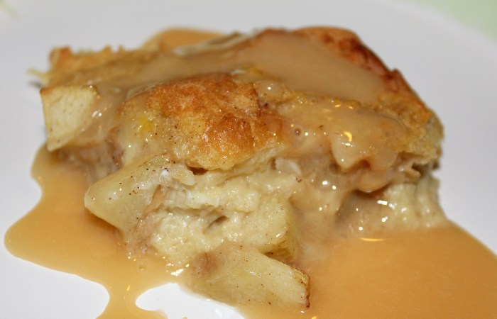 Salted Caramel Bread Pudding With Caramelized Apples