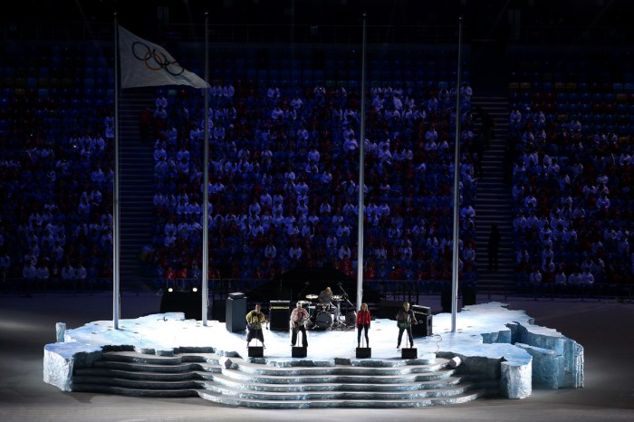 SOCHI, RUSSIA - FEBRUARY 23: Pre-show perfomance during the 2014 Sochi Winter Olympics Closing Ceremony at Fisht Olympic Stadium on February 23, 2014 in Sochi, Russia. (Photo by Matthew Stockman/Getty Images)