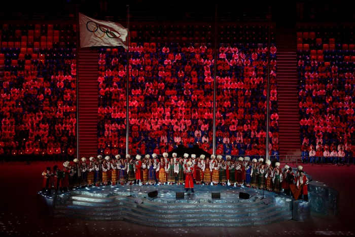 SOCHI, RUSSIA - FEBRUARY 23: Pre-show performance by the Kuban Cossack Choir during the 2014 Sochi Winter Olympics Closing Ceremony at Fisht Olympic Stadium on February 23, 2014 in Sochi, Russia. (Photo by Matthew Stockman/Getty Images)