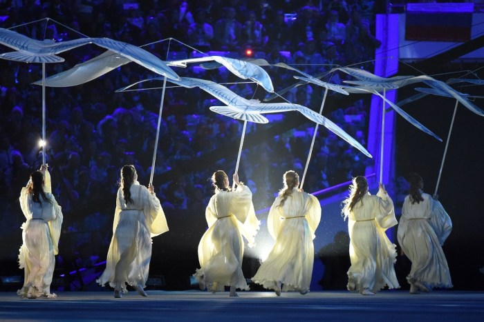Dancers perform during the Closing Ceremony of the Sochi Winter Olympics at the Fisht Olympic Stadium on February 23, 2014. AFP PHOTO / DAMIEN MEYER (Photo credit should read DAMIEN MEYER/AFP/Getty Images)