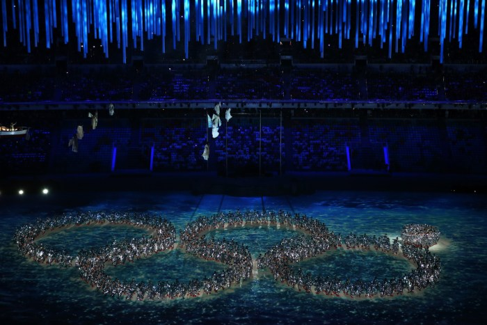 SOCHI, RUSSIA - FEBRUARY 23: Dancers reenact the Opening Ceremony ring failure during the 2014 Sochi Winter Olympics Closing Ceremony at Fisht Olympic Stadium on February 23, 2014 in Sochi, Russia. (Photo by Matthew Stockman/Getty Images)