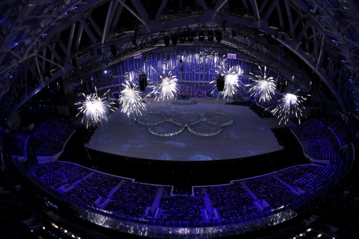 SOCHI, RUSSIA - FEBRUARY 23: Dancers form the Olympic rings during the Closing Ceremony of the Sochi 2014 Winter Olympics at Fisht Olympic Stadium on February 23, 2014 in Sochi, Russia. (Photo by Matthew Stockman/Getty Images)
