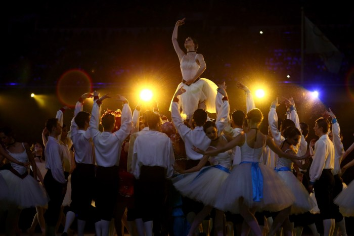 SOCHI, RUSSIA - FEBRUARY 23: Dancers perform a celebration of Russian ballet during the 2014 Sochi Winter Olympics Closing Ceremony at Fisht Olympic Stadium on February 23, 2014 in Sochi, Russia. (Photo by Ryan Pierse/Getty Images)