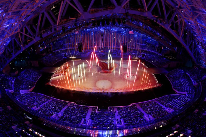 SOCHI, RUSSIA - FEBRUARY 23: A general view as 'The Magic of Circus' is performed during the 2014 Sochi Winter Olympics Closing Ceremony at Fisht Olympic Stadium on February 23, 2014 in Sochi, Russia. (Photo by Matthew Stockman/Getty Images)