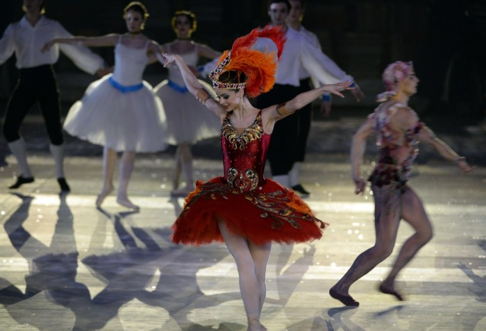 A dancer performs during the Closing Ceremony of the Sochi Winter Olympics at the Fisht Olympic Stadium on February 23, 2014. AFP PHOTO / PETER PARKS (Photo credit should read PETER PARKS/AFP/Getty Images)