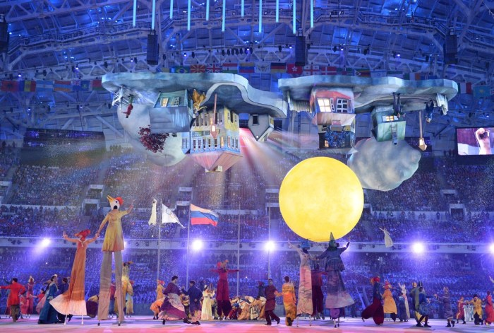 Performers takes part in the Closing Ceremony of the Sochi Winter Olympics on February 23, 2014. AFP PHOTO / DAMIEN MEYER (Photo credit should read DAMIEN MEYER/AFP/Getty Images)