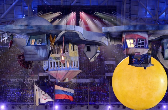 Artists perform during the Closing Ceremony of the Sochi Winter Olympics at the Fisht Olympic Stadium on February 23, 2014. AFP PHOTO / PETER PARKS (Photo credit should read PETER PARKS/AFP/Getty Images)