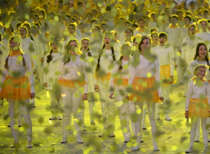Performers take part in the Closing Ceremony of the Sochi Winter Olympics at the Fisht Olympic Stadium on February 23, 2014. AFP PHOTO / PETER PARKS (Photo credit should read PETER PARKS/AFP/Getty Images)