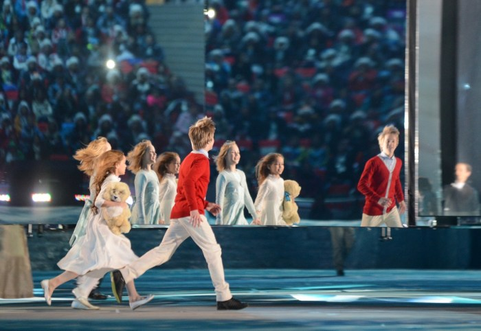 Performers take part in the Closing Ceremony of the Sochi Winter Olympics at the Fisht Olympic Stadium on February 23, 2014. AFP PHOTO / KIRILL KUDRYAVTSEV (Photo credit should read KIRILL KUDRYAVTSEV/AFP/Getty Images)