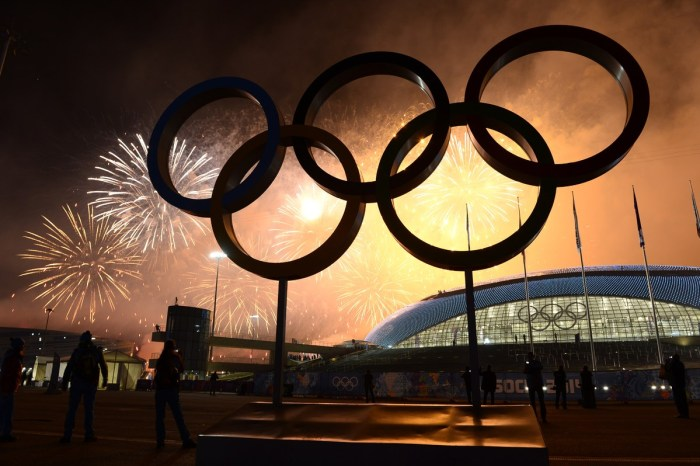 Fireworks explode around the Fisht Olympic Stadium at the end of the Closing Ceremony of the Sochi Winter Olympics on February 23, 2014 at the Olympic Park in Sochi. AFP PHOTO / JONATHAN NACKSTRAND (Photo credit should read JONATHAN NACKSTRAND/AFP/Getty Images)