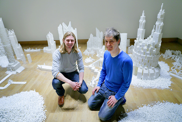 Sculptors Mark Revels and Brendan Jamison at the Northern Ireland version of Sugar Metropolis, November 2013 (Photo Credit: Project On Kickstarter)