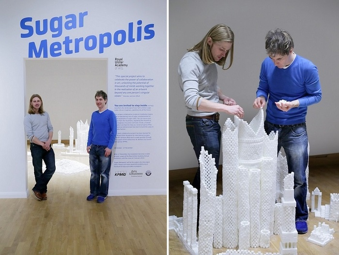 Mark Revels and Brendan Jamison constructing the Northern Ireland version of Sugar Metropolis in November 2013 (Photo Credit: Project On Kickstarter)