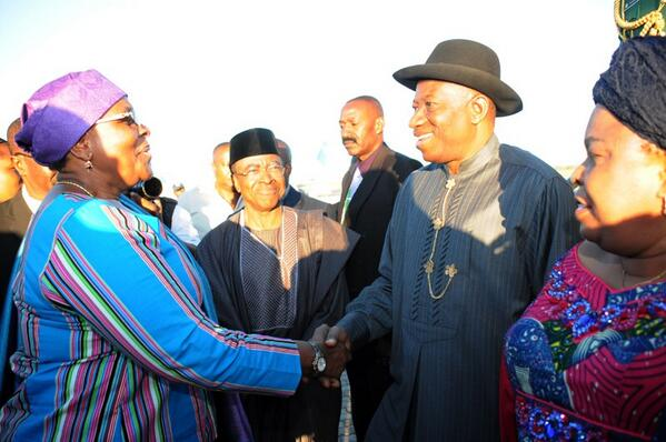 President Jonathan, Dame Jonathan, High Commissioner to Namibia, Dr Olorunfemi & Namibian Foreign Minister.