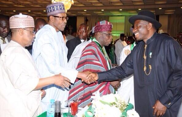 All for the love of Nigeria-President Jonathan with former leaders at the Centenary awards.