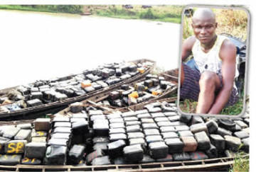 Pipeline vandal, Daniel and the seized jerrycans | Photo: Punch