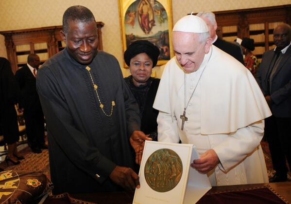 A gift from Pope Francis to President Jonathan, Vatican | Photo: Reuben Abati